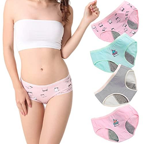 lzzya Teen Girls Leak Proof Underwear Menstrual Protective Cotton Briefs 4-Pack