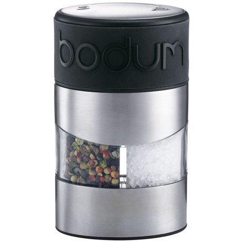 Bodum TWIN Salz- und Pfeffermühle (Einstellbares Keramikmahlwerk, Rutschfester Silikon-Griff, 12 cm) schwarz