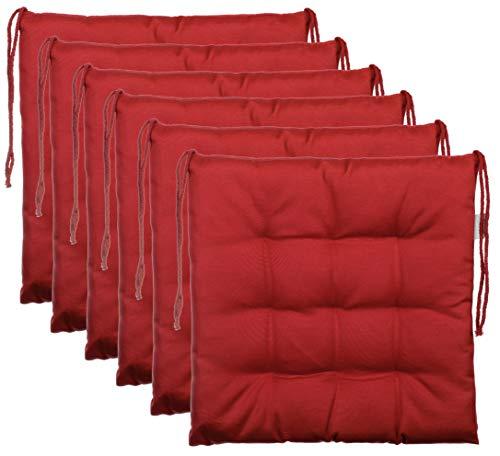 BrandssellerCojín decorativo de asiento para silla de jardín, 9 pespuntes, varios diseños, poliéster, rojo, 6er-Paket