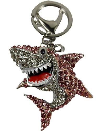 Alexandra Fischer Schlüsselanhänger/Anhänger/Taschenanhänger Straß rosa/weiß Hai Haifisch Fisch Meer Aquarium 451