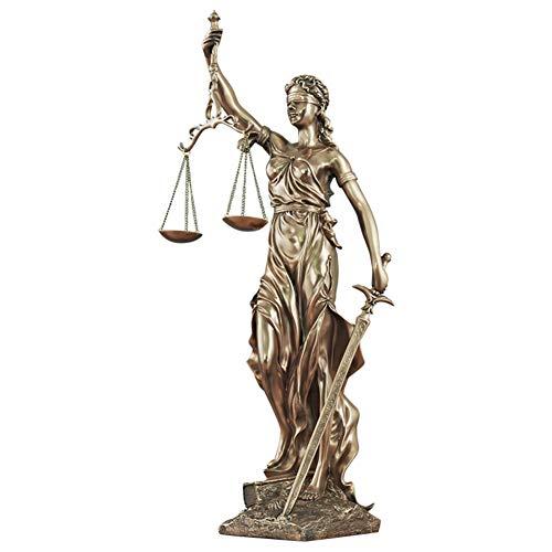qwqqaq Lady Justice Estatua Escultura,Grande con Los Ojos Vendados Bronce Fundido En Frío Resina Romano Diosa De La Justicia Llevar Justicia Y Espada-c 16x10x31cm(6x4x12inch)