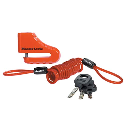 Master Lock 8303EURDPS Antifurto Moto Bloccadisco, Perno con Diametro 5.5 cm, Rosso
