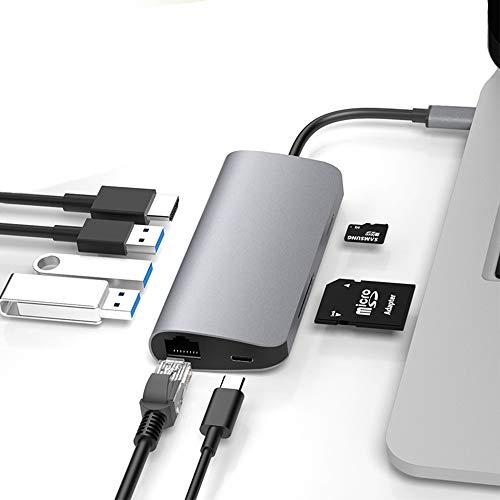 MX kingdom Adaptador USB C Hub 8 En 1 Tipo C A Hdmi 4K 5.0 Gbps 3 Puertos USB 3.0 Puerto Rj45 Lector SD/Tfcard Carga RáPida PD Hub para Macbook Pro 2018/2017/2016 Macbook Air 2018