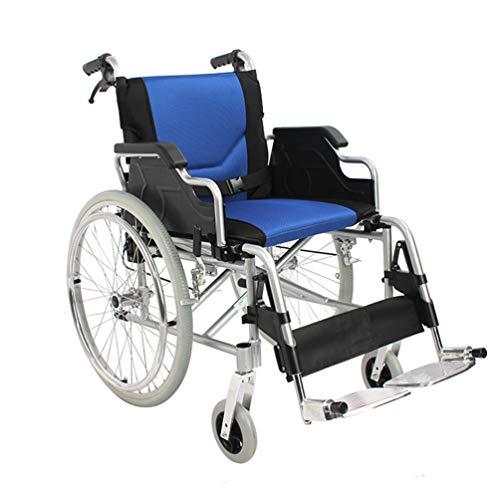 Leggero pieghevole for sedia a rotelle, semoventi for sedia a rotelle portatile for gli anziani con Walking freno, regolabile corrimano, poggiapiedi, sedia a rotelle Ampliamento della sede for disabil