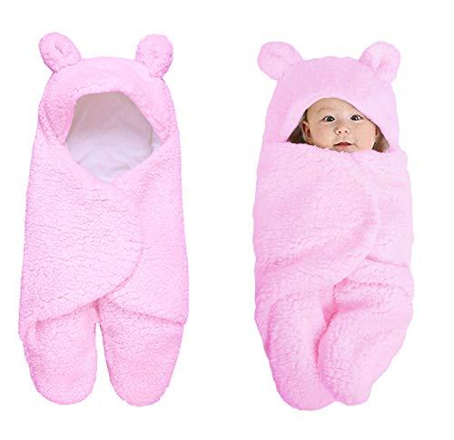 Muratomedo Cute Newborn Baby Boys Girls Blankets Plush Swaddle Blankets (Pink)