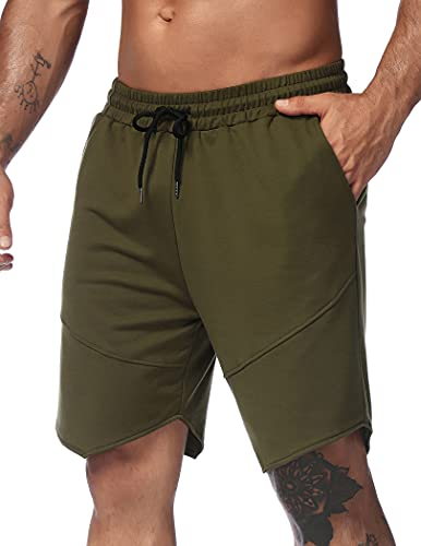 Coofandy Men's Running Shorts Ultra-Lightweight Breathable Gym Workout Training Jogging Cycling Shorts with Pocket, Army Green01, M