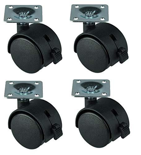 HRB 4er Set Lenkrollen mit Bremse, Möbelrollen klein mit max. Tragkraft 100 Kg/Rollensatz, drehbare Rollen für Möbel mit Raddurchmesser von 40 mm, Transportrollen aus Kunststoff