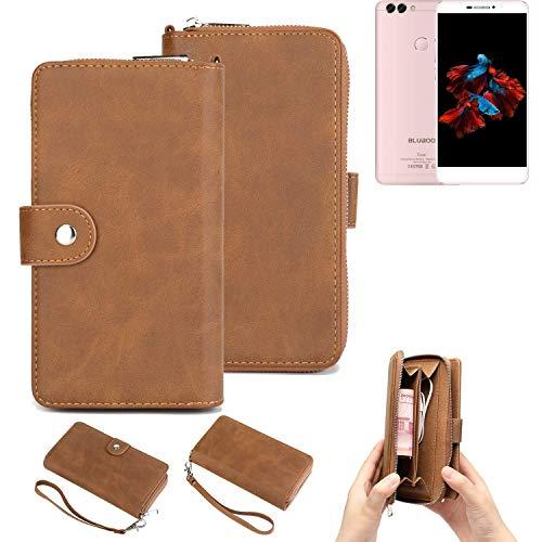 K-S-Trade Handy-Schutz-Hülle Für Bluboo Dual Portemonnee Tasche Wallet-Hülle Bookstyle-Etui Braun (1x)