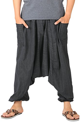 CandyHusky Mens Baggy Lounge Hippie Boho Aladdin Yoga Harem Pants Pinstripes (Black)