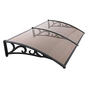 MVPower Marquesina para Puertas Ventanas, Tejadillo de Protección Protección Solar, Toldo Cubierta de Policarbonato para Jardín, Aire Libre Dosel de Techo Transparente( Marrón Oscuro, 190*98.5cm)