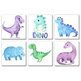 TEXTURE OF DREAMS Watercolor Cute Cartoon Dino Family Boy Room Baby Dinosaur Painting Print on Canvas Wall Art T-Rex Triceratops Velociraptor Painting Artwork Nursery Room Decor 6 Pack (10' x 10')