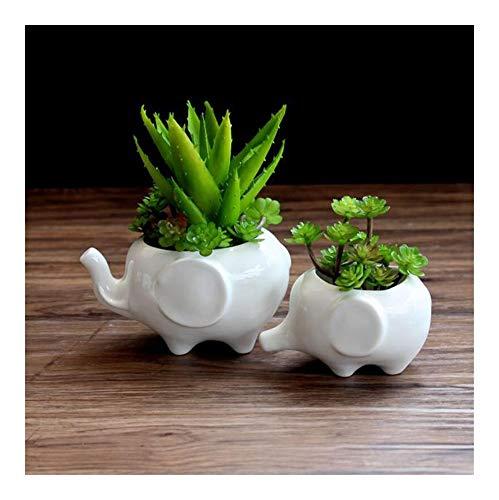 YINJIESHANGMAO Flower Pot planters White Elephant Ceramic pote de vidro for Garden pots Flower vasi macetas Pot Fleur Bonsai pots (Size : Elephant13x9x7cm)