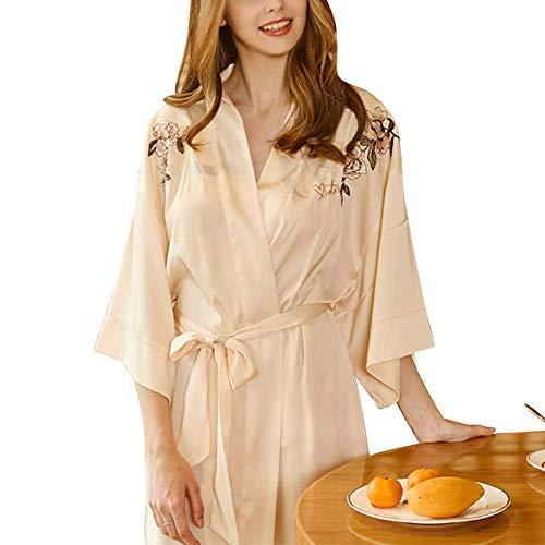 Bata Personalizada para Mujer, Color Puro para Mujer Batas De Kimono SatéN...