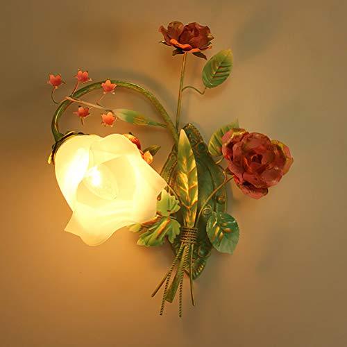Landhausstil Wandleuchte aus Metall, Floral Design Wandlampe mit Glas Schirm, Florentiner Schlafzimmer Nachttischlampe, Innen Deko Wohnzimmer Licht, Rosa Grün Blumen Blätter, E14,Links