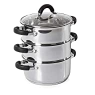 Tower T80836, 3 Tier Steamer, 18cm-Stainless Steel, Silver