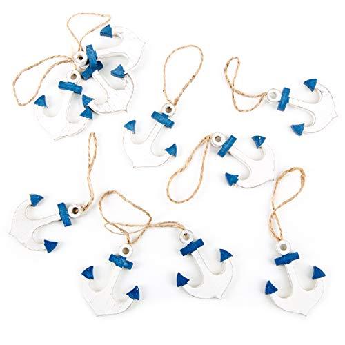 Logbuch-Verlag 10 kleine Anker Holzanker blau weiß 5 cm mit Schnur zum Aufhängen Ankeranhänger Schiffsanker Hänger Deko maritim nautisch Schiff Boot Meer Glücksbringer Souvenir