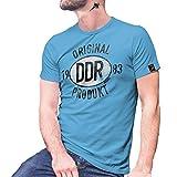 Original DDR Produkt 1983 Siegel Plakette Spreewald Trabbi NVA T Shirt #27464, Größe:XXL, Farbe:Hellblau