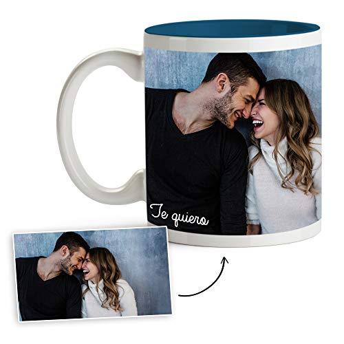Fotoprix Tazas Personalizadas con Foto y Texto | Regalos Personalizados con Foto para Parejas | Te Quiero | Taza Personalizada con Nombre | Taza de Color Azul Oscuro