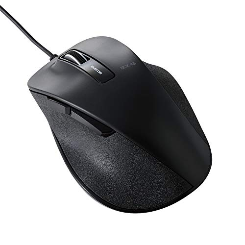 ELECOM Dr.EXG Wired Mouse 5 Buttons BlueLED Less Click Noise Mouse/Ergonomic Design/Back Forward Button 2000 DPI Gaming / Large - Black (M-XGL10UBSBK-US)