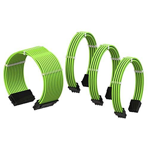 LINKUP - PSU Kabelverlängerung Ummantelt GPU Nach Maß PC Stromversorgung mit Kamm-Kit| 1x 24 P (20+4) | 1x 8 P (4+4) CPU | 2X 8 P (6+2) GPU Set | 30CM 300MM – Grün