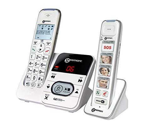 Geemarc Pack Mobility 295 verstärktes schnurloses 30 dB Seniorentelefon (+Anrufbeantworter) und Zusatz-Dect-Telefon - Deutsche Version
