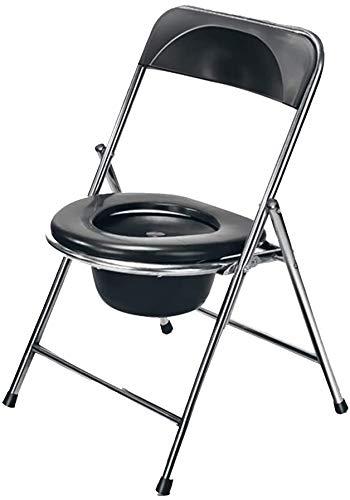 FREIHE Toiletstoel Zware bedstoel commode stoel, opvouwbare medische, draagbare douchestoel met rugleuning, geschikt voor gehandicapten, senioren, zwangere vrouwen (zwart)