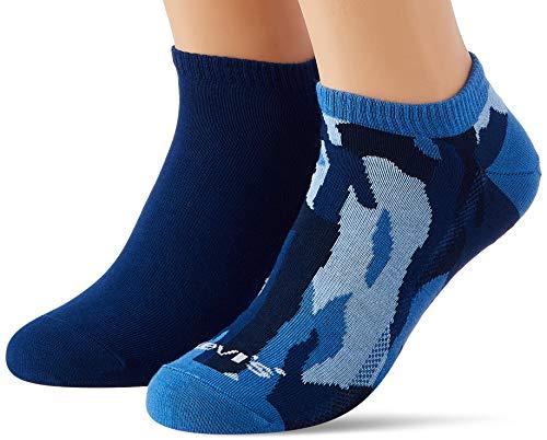 Levi's Unisex-Adult Camo Low Cut (2 Pack) Socks, Nasturtium/Blue, 39/42