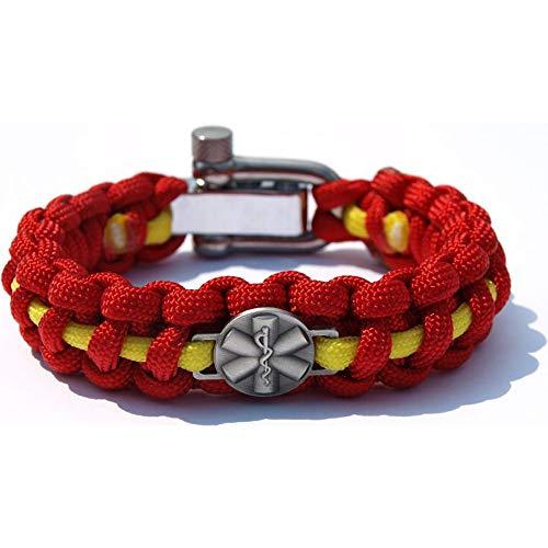 DRK | Paracord-Armband | Star of Life Emblem | Survival Camping Outdoor | Rettungsdienst | Parachute-Cord | Größe S-XXL | Schekel-Schraub-Verschluss | Schmuck Herren Damen | Orange Neongelb