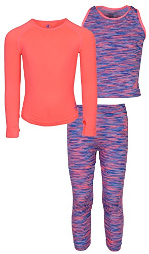 Body Glove Girls 3 Piece Athletic Tank Top, Long Sleeve Shirt and Leggings Set, Space Dye Coral, 4/5