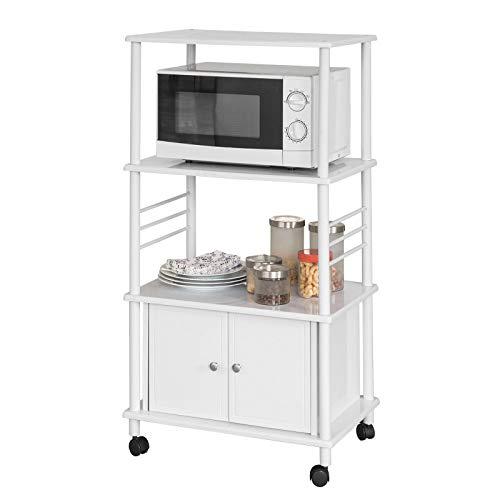 SoBuy® FRG12-W Küchenwagen mit 3 Ablagen und 2 Türen Küchenschrank Rollschrank Mikrowellenschrank weiß BHT ca: 60x115x40cm