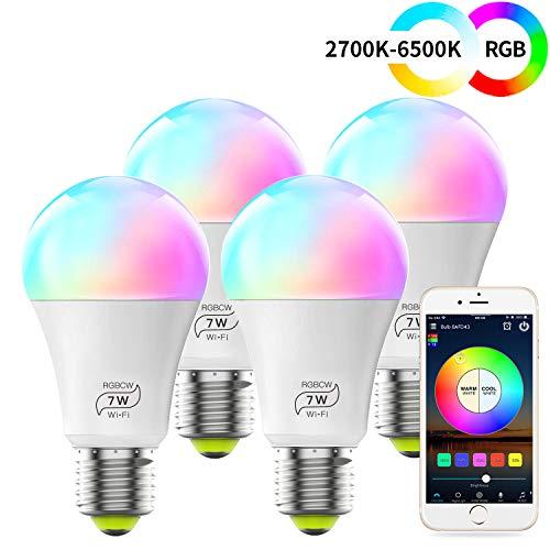 WLAN Smart LED 7W Lampe WIFI Beleuchtung, Dimmbar Kompatibel mit Alexa, IFTTT, Google Home und Siri, Sunset&Sonnenaufgang, Wecker 16 Mio Farben Leuchtmittel E27 Bulbs(4 Pack)
