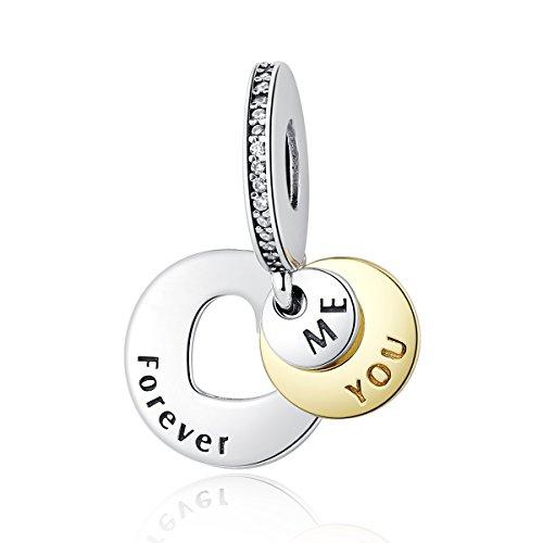 """Charm-Anhänger """"You & Me Forever Together"""" aus 925er Sterlingsilber für und andere europäische Charm-Armbänder"""