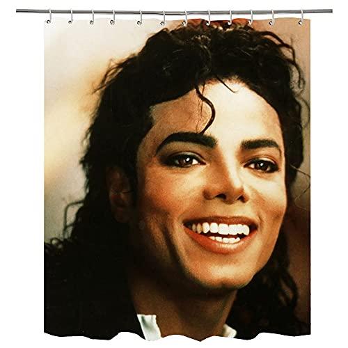 Duschvorhänge Michael Jackson Waschbar Badvorhänge aus Polyester, Wasserdicht Anti-Schimmel, Anti-Bakteriell mit 12 Duschvorhangringe Design, 79x79 inches