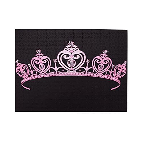 Rompecabezas de 500 piezas,corona de princesa rosa plido con figuras de diamantes Disfraz de la familia real del gobernante de la nacin,juego de rompecabezas para familias numerosas