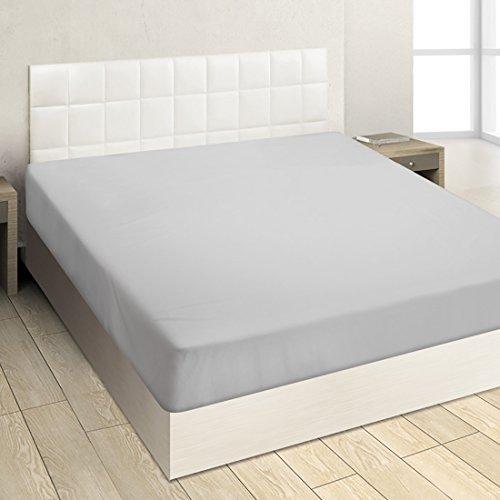 Burrito Blanco Sábana Bajera Ajustable de Punto Jersey ADJ001 Lisa de Algodón 100% para Cama de Matrimonio de 150x190 cm hasta 150x200 cm, Gris