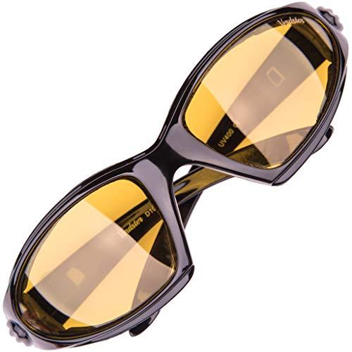 Verdster Airdam - Occhiali Da Sole Moto Polarizzati Da Uomo Con Lenti Gialle Per Guida Notturna - Montatura Avvolgente Con Imbottitura - Protetezione UV - Ideali per Motorini, Chopper, Touring
