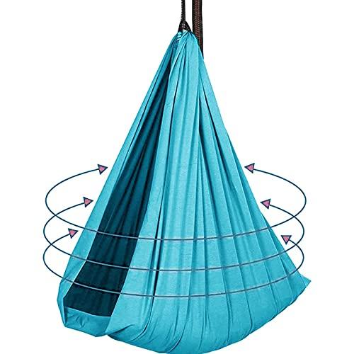 Bambini per Bambini, Oscillazioni al Coperto per Adulti, Elasticità Nylon Hammock Swing, Swing Terapia per Bambini con Bisogni Speciali(Size:100x280cm/39x110in,Color:Lago Blu)