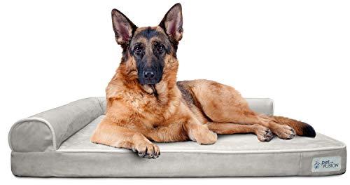 PetFusion BetterLounge Hundebett aus Memory-Schaum, mit wasserdichtem Innenfutter und abnehmbarem Bezug, Größe XL, 112 x 86 x 19 cm Ersatzbezüge und Decken sind ebenfalls erhältlich.