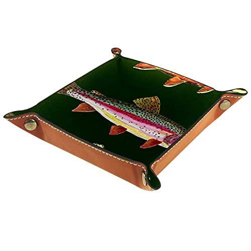 FCZ Bandeja de cuero para pesca de trucha, mesita de noche, organizador de almacenamiento para llaves, monedero, 20 x 20 cm