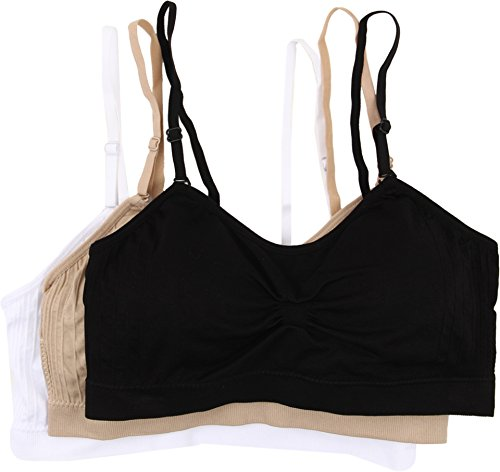 Coobie Women's Strappy Scoopneck 3-Pack Neutrals Black/White/Light Nude One Size