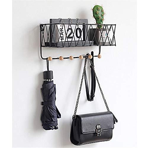 Baffect Wandregale mit 6 Kleiderhaken, schwimmender Regal, Kleiderhaken, 1 Stück, Metall, Schwarz, L: 35.5 * 12 * 16.5cm