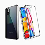 ZHIKE Samsung Galaxy A51 Case 5G,Magnetic Metal Frame Front and Back Tempered Glass Full Screen Coverage One-Piece Flip Gradient Color Cover Anti-Slip Design [Support Wireless Charging](Clear Silver)