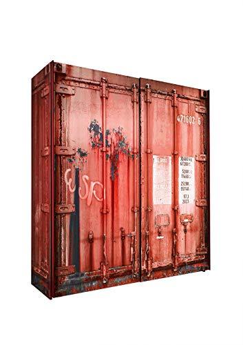Kleiderschrank Josh Container-Optik 2 Türen B 170 cm H 195 cm rot Kinder Jugend Schlafzimmer Wäsche Schwebetüren Schiebetürenschrank