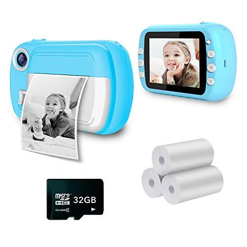 i-Paint P9 - Macchina fotografica istantanea per Bambini, Stampa B/N su carta termica, Fotocamera 1080P Videocamera Digitale FHD, LCD da 3.5', Micro SD da 32GB, Colore Blu
