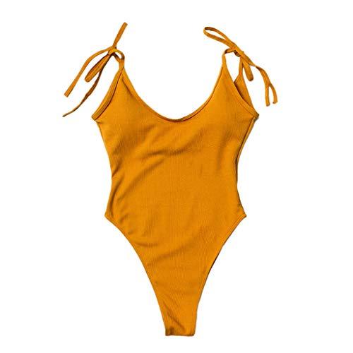 Badeanzug Damen Sexy Bauchweg Einteiler Bademode Damen Push Up Einfarbig Spitze Schwimmanzug Monokini, Badeanzug für Damen
