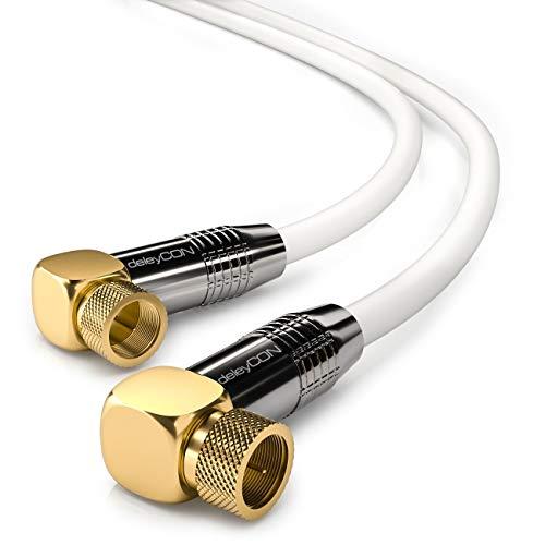 deleyCON 1m SAT Antennenkabel HDTV Satellitenkabel Koaxialkabel 2X Gewinkelt - F-Stecker (90° Grad) zu F-Stecker (90° Grad) - Metallstecker - Weiß