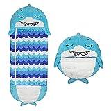 Saco De Dormir para Niños, Happy Nappers, Saco De Dormir para Niños 2 En 1, Saco De Dormir para Bebé De Dibujos Animados Cálido Suave Cálido Cómodo E Interesante 4-10 Años (tiburón)