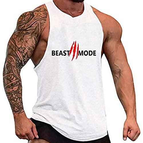 KKSY Camisa Sin Mangas de Algodón para Hombre, Camisetas Sin Mangas de Entrenamiento de Culturismo, Camisetas de Fitness Muscular, Chaleco de Gimnasio Masculine,White,L