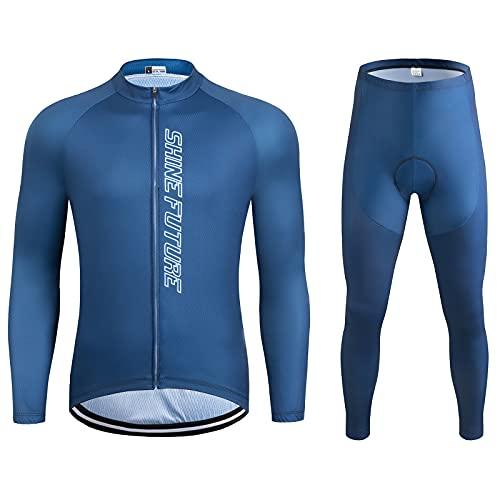 shine future Herren Radtrikot Set Herren Fahrradbekleidung Set Fahrradbekleidung Fahrrad Trikot mit Sitzpolster Atmungsaktiv Schnelltrocknend für Radsport (Blau, X-Large)