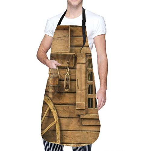 Adjustable Neck Hanging Personalized Waterproof Apron,Wagon Wheel Next To A Rustic Wooden House With Vintage Lantern Window And Retro Buckets,Kitchen Bib Gown for Men Women with 2 Center Pockets